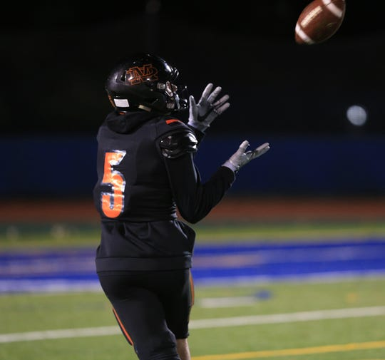 Marlboro's Gio Frisenda catches a 42-yard touchdown pass from Christian Diorio in the first quarter of the Section 9 Class B final against Port Jervis on Friday.