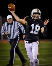 York Suburban quaterback Camden Brewer launches a pass as the Trojans host Lampeter-Strasburg in the District 3 Class 4-A quarterfinal, Friday, November 8, 2019John A. Pavoncello photo
