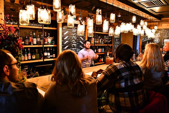 Regional General Manager Jacob Dopp, of O.N.E. Hospitality Group, teaches the art of building craft cocktails during a class at Tutoni's Restaurant in York City, Saturday, Nov. 9, 2019. Dawn J. Sagert photo
