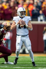 Nov 9, 2019; Minneapolis, MN, USA; Penn State Nittany Lions quarterback Sean Clifford (14) drops back for a pass in the first half against the Minnesota Golden Gophers at TCF Bank Stadium. Mandatory Credit: Jesse Johnson-USA TODAY Sports