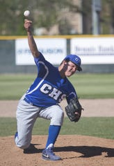 Carson pitcher Chase Blueberg throws against Reno during their regional baseball playoff game at Reno High School on May 13, 2014.
