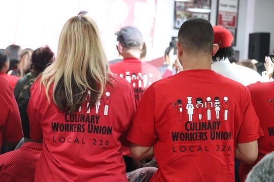 Culinary Union workers applaud Sen. Kamala Harris in Las Vegas on Friday, Nov. 8, 2019.