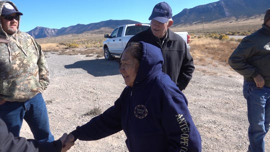 Delaine Spilsbury, an Ely Shoshone elder and board member for the Great Basin Water Network visits the possible future site of a highway kiosk to commemorate the Bahsahwahbee Traditional Cultural Property in White Pine County, Nev.