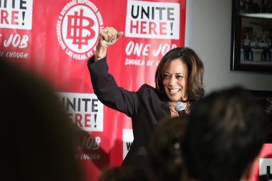 Sen. Kamala Harris addresses Culinary Union workers in Las Vegas.