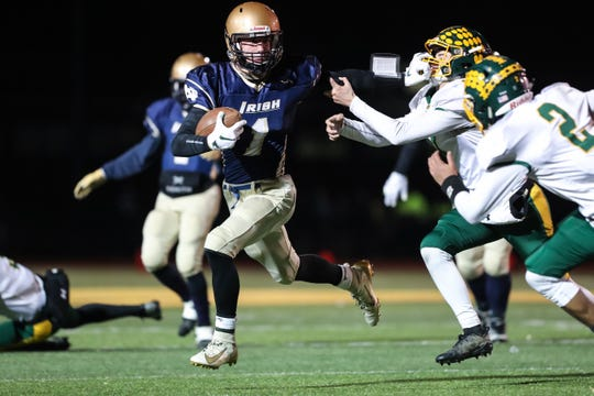 Batavia Notre Dame's Gabe Macdonald, here against Alexander last week, got the Fighting Irish on the scoreboard Friday night with a 10-yard touchdown run and 2-point conversion.