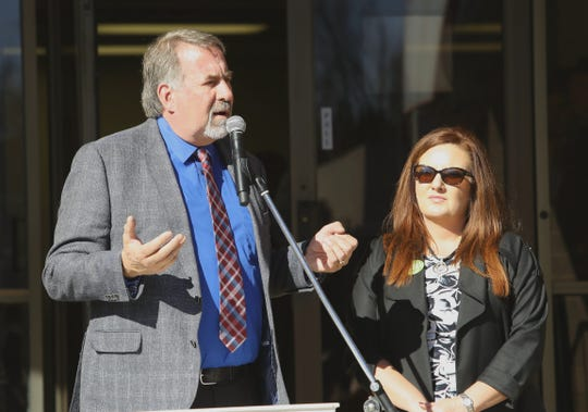U.S. Rep. Doug LaMalfa speaks alongside Kim Vann, the state director of USDA Rural Development, on Friday, Nov. 8, 2019, during a commemoration ceremony in Paradise on the one-year anniversary of the Camp Fire.