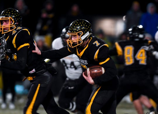 Colman-Egan quarterback and safety Nate Tolley (7) runs the ball during the semifinals against Wolsey-Wessington on Friday, Nov. 8, 2019 at Colman-Egan High School.