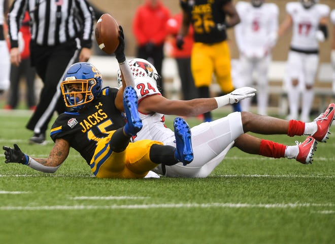 SDSU wide receiver Cade Johnson (15) receives a pass during the game against Illinois State on Saturday, Nov. 9, 2019 at Dana J. Dykhouse Stadium.