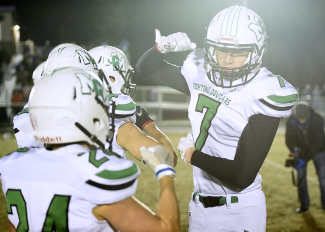 McCook Central/Montrose's Jake Cheeseman is introduced prior to the start of a Class 11B semifinal against Bridgewater-Emery/Ethan on Friday, Nov. 8, in Bridgewater.