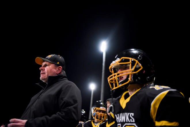 Colman-Egan head coach Chad Williamson calls plays during the semifinals against Wolsey-Wessington on Friday, Nov. 8, 2019 at Colman-Egan High School.