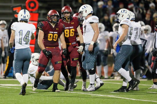 Roosevelt DL #99 Caleb Dwyer celebrates after a sack Friday night at HWF against O'Gorman.  O'Gorman won 24-21.