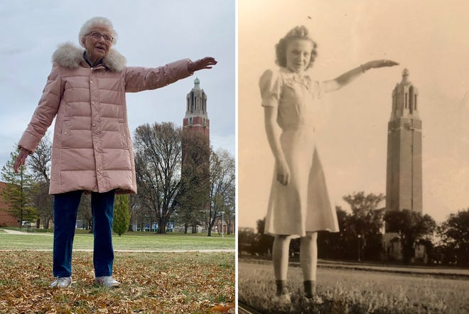 Phyllis (Wheeler) Bunkers, 97, recently recreated a photo of herself standing in front of the Campanile when she was 18.