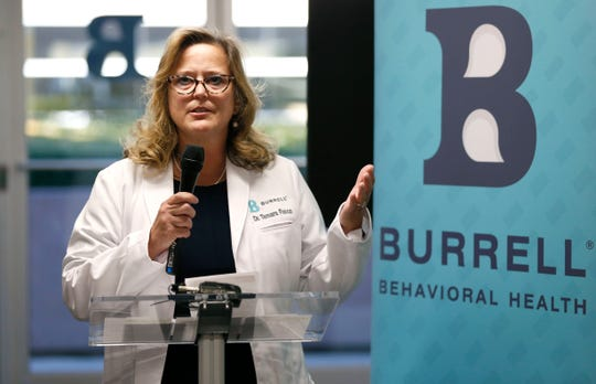 Dr. Tamara Fusco with Burrell Behavioral Health speaks during an open house for the center's new Youth Focus Clinic on Friday, Nov. 8, 2019.