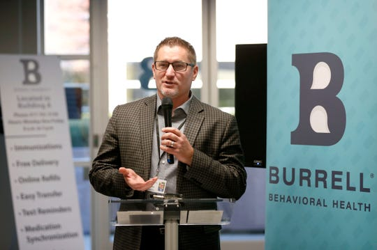 Burrell Behavioral Health President and CEO C.J. Davis speaks during an open house for the center's new Youth Focus Clinic on Friday, Nov. 8, 2019.