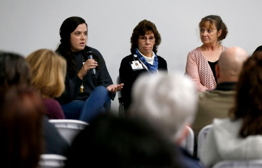 Michala Boehm with Springfield Public Schools speaks during a panel discussion about 'Dispelling Myths About Homelessness' at the Springfield Art Museum on Thursday, Nov. 7, 2019.