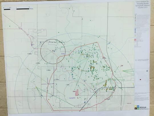 A map of water wells tested by Northrop Grumman and the Missouri Department of Natural Resources was displayed at a meeting to discuss TCE groundwater pollution held in Springfield, Missouri on Nov. 7, 2019.