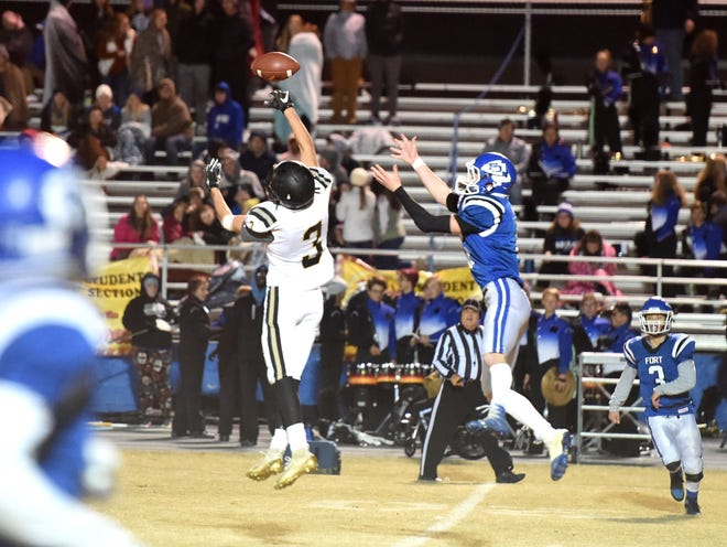Buffalo Gap's Samuel Holden breaks up a pass late in the game on fourth down.