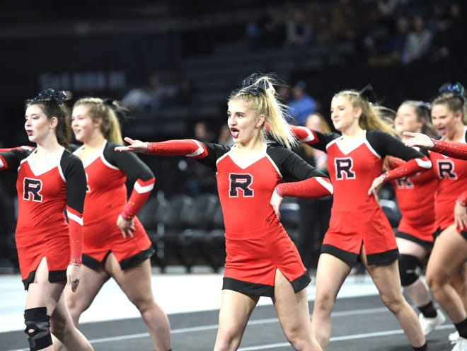 Riverheads competes in the preliminary round of the Class 2 state cheer meet Saturday, November 9, at VCU.