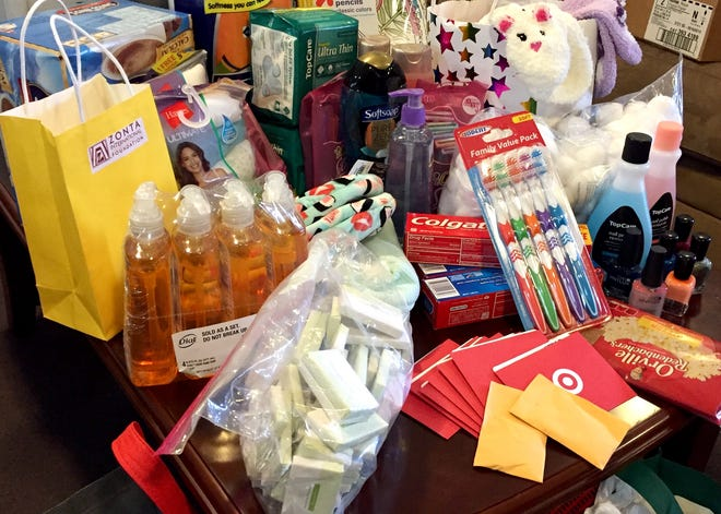 Members of the Zonta Club of St. Cloud donated 100 each of certain items on the Central Minnesota Sexual Assault Center's most-wanted donation list on Saturday, Nov. 9, 2019 in honor of Zonta International's centennial celebration.