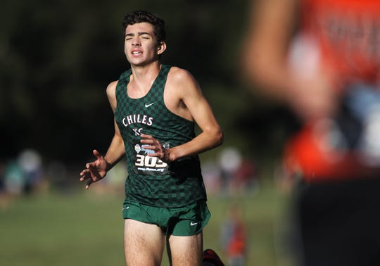 Chiles sophomore Ben Kirbo races to the finish of the Class 4A boys race in the FHSAA Cross Country State Championships at Tallahassee's Apalachee Regional Park on Nov. 9, 2019.