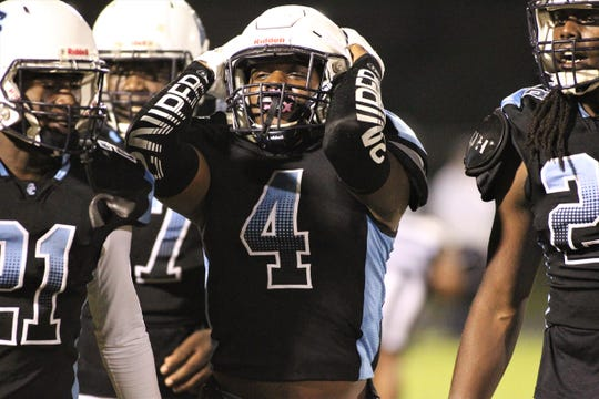 Gadsden County junior defensive back Antwan Betsey can't believe he didn't score after recovering a fumble as Bradford beat Gadsden County 21-0 in a Region 1-4A quarterfinal playoff game on Friday, Nov. 8, 2019.