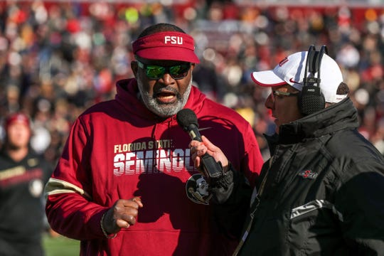 Nov 9, 2019; Chestnut Hill, MA, USA; Florida State Seminoles interim head coach Odell Haggins during the first half abasing the Boston College Eagles at Alumni Stadium. Mandatory Credit: Paul Rutherford-USA TODAY Sports