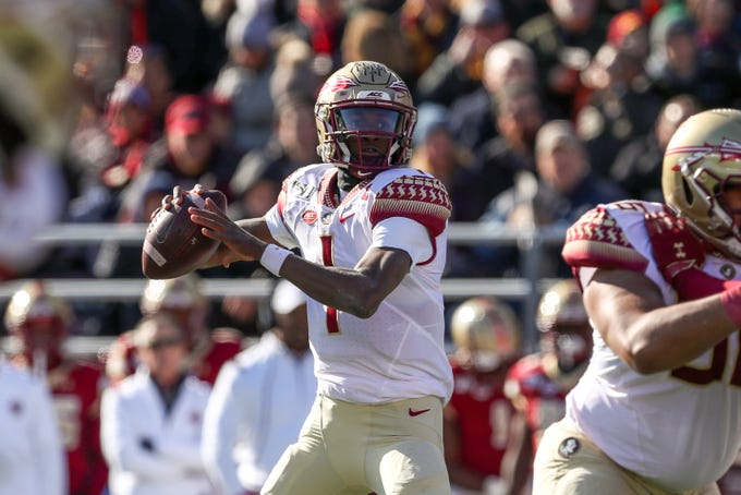 Nov 9, 2019; Chestnut Hill, MA, USA; Florida State Seminoles quarterback James Blackman (1) throws the ball during the first half against the Boston College Eagles at Alumni Stadium. Mandatory Credit: Paul Rutherford-USA TODAY Sports
