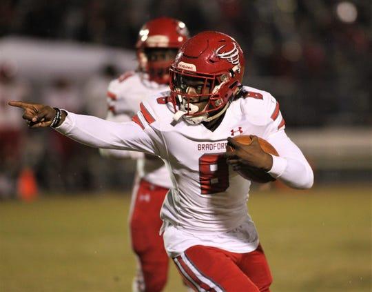 Bradford quarterback Pedro Carter runs for a gain as the Tornadoes beat Gadsden County 21-0 in a Region 1-4A quarterfinal playoff game on Friday, Nov. 8, 2019.
