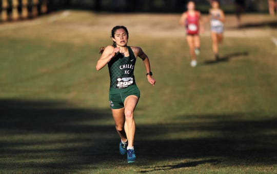 Chiles senior Alyson Churchill races to a fifth-place finish in the Class 4A girls race in the FHSAA Cross Country State Championships at Tallahassee's Apalachee Regional Park on Nov. 9, 2019.
