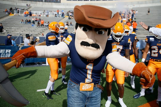 UTEP's Paydirt Pete takes the field for the game against Charlotte Saturday, Nov. 9, at the Sun Bowl in El Paso.