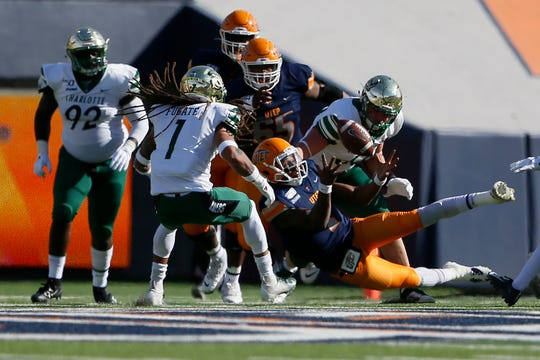 UTEP's Kai Locksley attempts to gain control of the ball during the game against Charlotte Saturday, Nov. 9, at the Sun Bowl in El Paso.