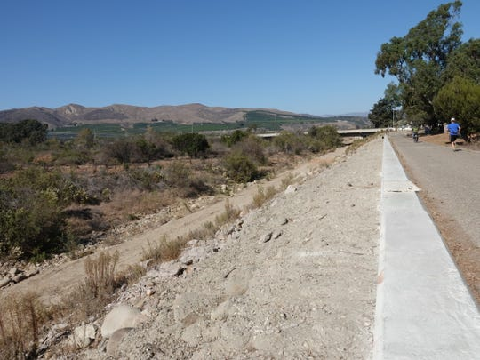 The Ventura River bottom, at left, looking north from the bike trail toward the Main Street bridge.