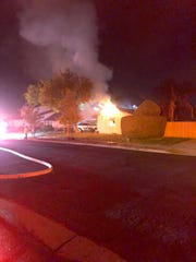 A garage fire on Knollwood Drive in Newbury Park Friday night.