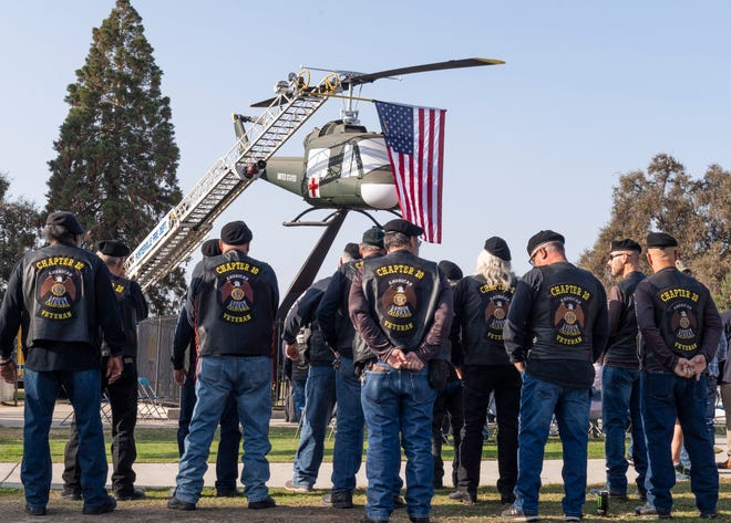 """Porterville unveiled its restored Vietnam era helicopter during a rededication ceremony on Saturday, November 9, 2019. The Vietnam Memorial """"Huey"""" was first dedicated at Veteran's Park in January of 1989 to honor Porterville service members that were killed during active duty."""