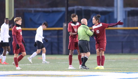 Ossining defeats Monroe-Woodbury 1-0 in the NYSPHSAA class AA boys soccer regional finals at Pace University in Pleasantville on Saturday, November 9, 2019.