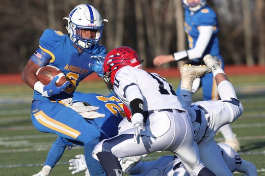 Ardsley's Jalen Osbourne (6) looks for some running room in the Byram Hills defense during the Section 1 Class B championship at Mahopac High School Nov. 9, 2019.