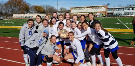 Bronxville with the regional final plaque after beating Taconic Hills 5-0 in the NYSPHSAA Class C regional final.