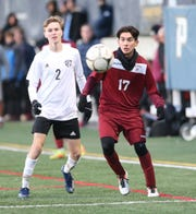 Ossining's Andrick Palma (17) looks at a pass during the NYSPHSAA class AA boys soccer regional finals against Monroe-Woodbury at Pace University in Pleasantville on Saturday, November 9, 2019.