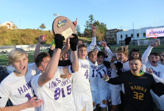 Rhinebeck defeats Hamilton 1-0 in the NYSPHSAA class C boys soccer regional finals at Pace University in Pleasantville on Saturday, November 9, 2019.