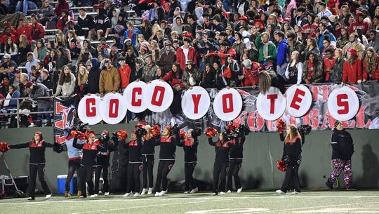 Students show their team spirit for the Wichita Falls High Coyotes Friday night at Memorial Stadium.
