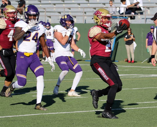 Midwestern State's Quinton Childs scores a touchdown against Western New Mexico Saturday, Nov. 9, 2019, at Memorial Stadium. MSU Texas defeated WNMU 28-13.