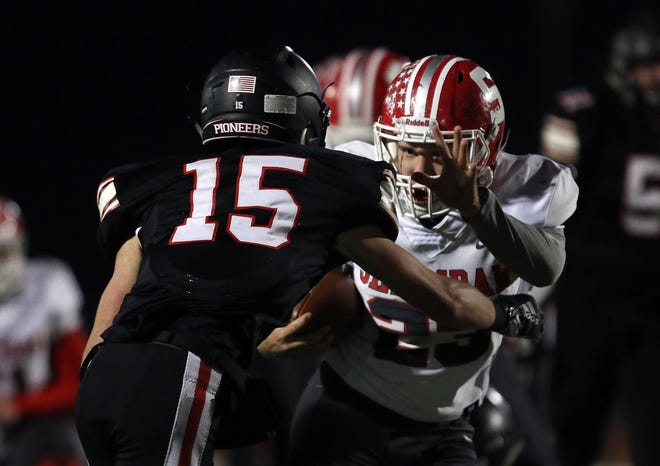 Sheridan's Jason Munyan fends off Jonathan Alder's Jonathan Keith during the Generals' 35-13 loss to the Pioneers on Friday night.