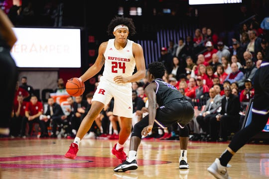 Ron Harper Jr. of the Rutgers Scarlet Knights during a game against the Niagara Purple Eagles