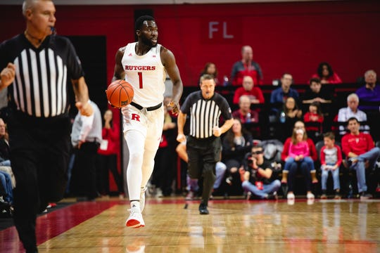 Akwasi Yeboah #1 of the Rutgers Scarlet Knights during a game against the Niagara Purple Eagles