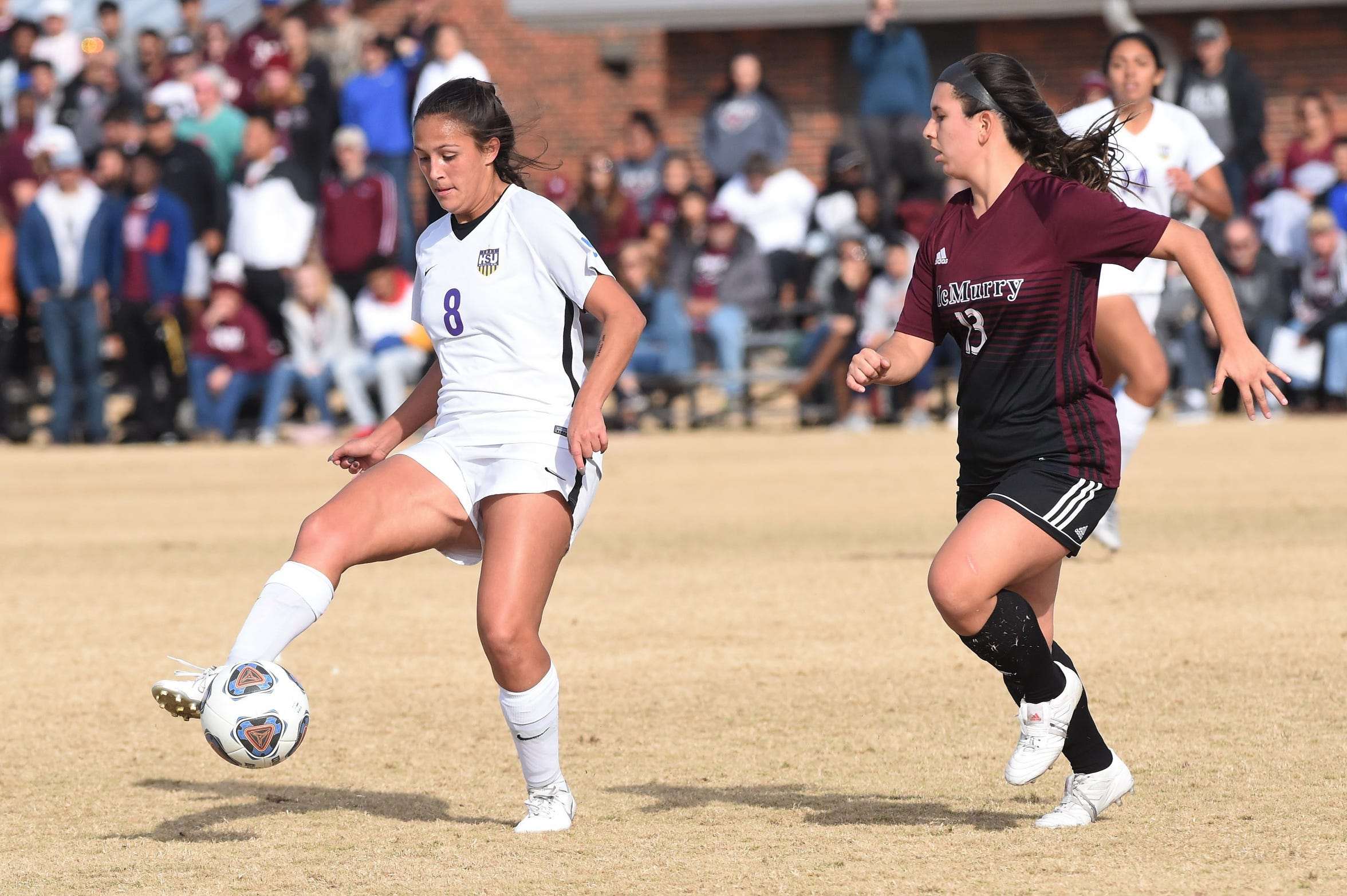 Hardin-Simmons forward Taylor Bernal (8) settles the ball against McMurry at the HSU Soccer Complex on Friday, Nov. 8, 2019. The Cowgirls won 2-1 to advance to Sunday's final.