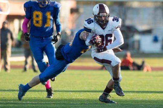 BFA Fairfax's Jaxon Schaarschmidt (36) runs with the ball during the DIII football championship game between Poultney vs. Fairfax/Lamoille at Rutland High School on Saturday afternoon November 9, 2019 in Rutland, Vermont.