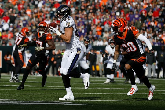 Baltimore Ravens tight end Mark Andrews (89) catches a pass over the middle in the first quarter of the NFL Week 10 game between the Cincinnati Bengals and the Baltimore Ravens at Paul Brown Stadium in downtown Cincinnati on Sunday, Nov. 10, 2019.