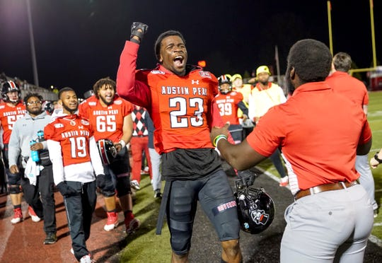 Austin Peay's Geordon Pollard (23) exclaims from the sidelines at APSU's homecoming game against the UT Martin Skyhawks at Fortera Stadium in Clarksville, Tenn., on Saturday, Nov. 9, 2019. | henrytaylor@theleafchronicle.com