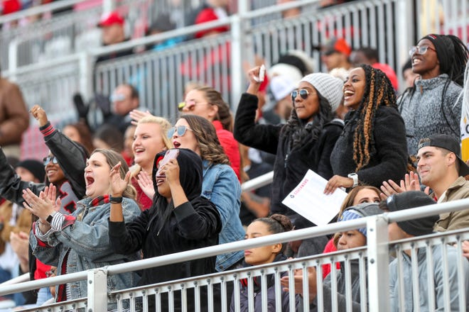 Austin Peay fans cheer on their team from the stands at APSU's homecoming game against the UT Martin Skyhawks at Fortera Stadium in Clarksville, Tenn., on Saturday, Nov. 9, 2019. | henrytaylor@theleafchronicle.com
