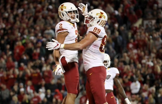 Nov 9, 2019; Norman, OK, USA; Iowa State Cyclones tight end Dylan Soehner (89) celebrates with wide receiver Sean Shaw Jr. (2) after scoring a touchdown during the second quarter against the Oklahoma Sooners at Gaylord Family - Oklahoma Memorial Stadium. Mandatory Credit: Kevin Jairaj-USA TODAY Sports